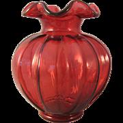 "Fenton Paneled Cranberry Melon Shape 6.5"" Vase"