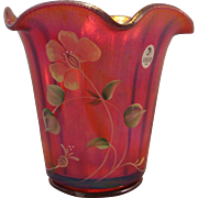 Fenton 2005 100th Anniversary Founder's Rudy Red Carnival Glass Vase with Hand painted flowers - Marked and original sticker