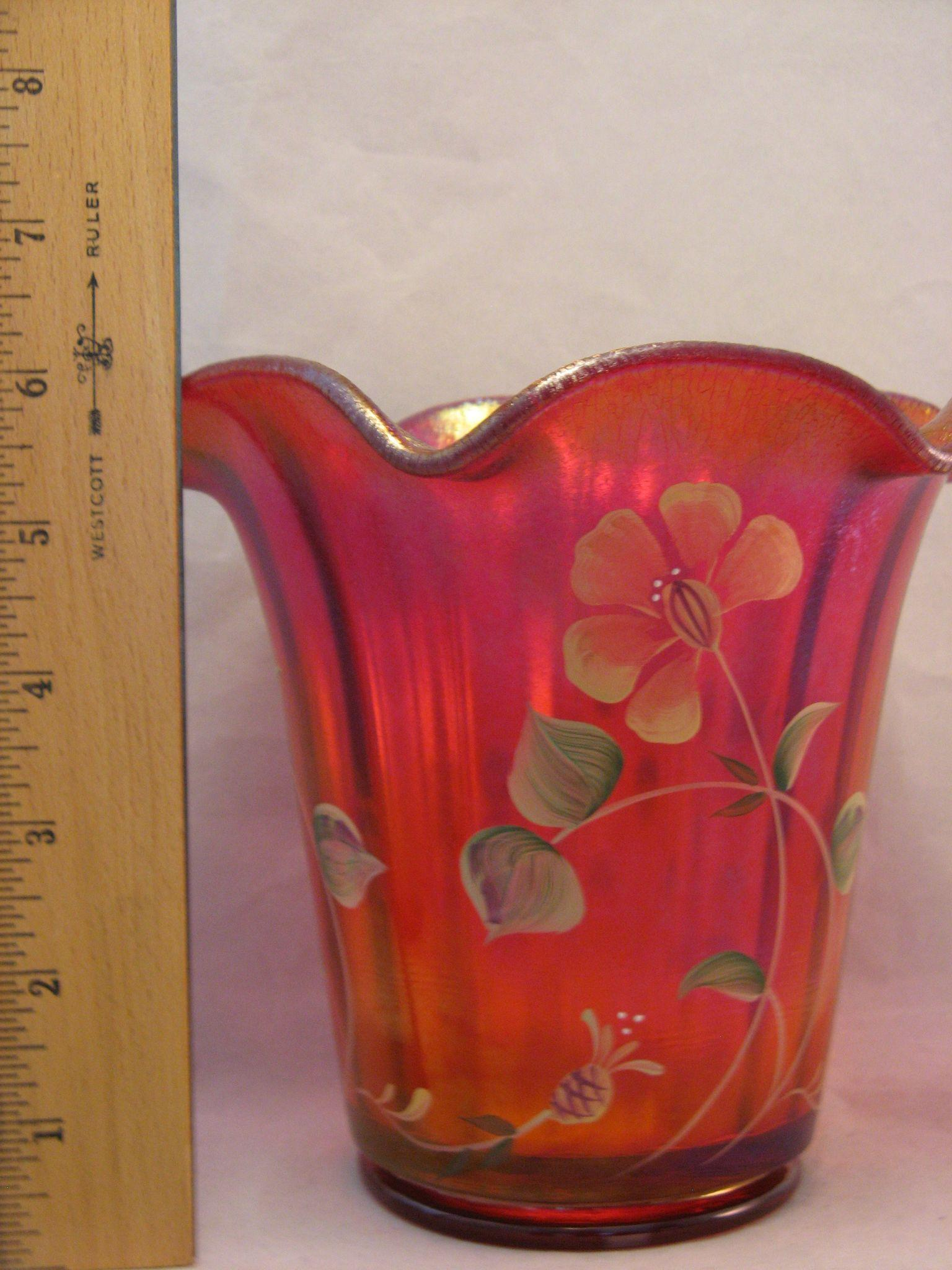 Fenton 2005 100th Anniversary Founder S Rudy Red Carnival Glass Vase From The7hillscollector On