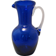 """Beautiful Blown 7"""" Cobalt Blue thick glass Ewer Pitcher Hand blown with clear attached handle"""