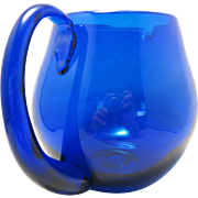 "Cobalt Blue 5 1/2"" Round Pitcher Art Glass with Attached Handle of Shelton Glass Works, Williamsburg, VA"