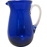 "Beautiful Blown 7"" Cobalt Blue thick glass Wide Mouth Pitcher with clear attached handle"