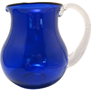 "Beautiful Hand Blown Blenko 5 1/2"" Round Bulbous Cobalt Blue thick glass Wide Mouth Pitcher with clear attached handle"
