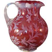 Fenton Cranberry Opalescent Daisy & Fern Ruffle Top Pitcher with attached handle - 1990's