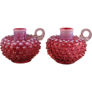 2 Fenton Art Glass Cranberry Opalescent Hobnail Finger Candlestick Holders 1970s