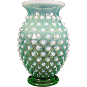 "Vintage Small Fenton Green Opalescent Hobnail Bud Vase 3 1/2"" with top hat rim"