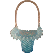 Rare Fenton Blue Opalescent Ruffle Hobnail Extra Large Basket