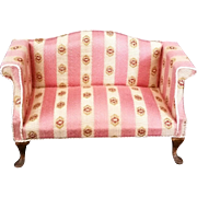 Pink Doll house Miniature French Parlor settee by S. Hoeltge 1983