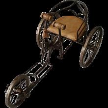Rare Salesman sample English Invalid Tri Wheelchair Push Pedal Tricycle Cart c1900