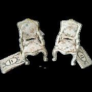 2 Louis Nichole Miniature romantic Style White Gold chair set – 1989