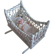 Miniature Victorian Style white Wicker Rocking Cradle with Baby - Handcrafted by Barbara J. Ruemeli  BJR