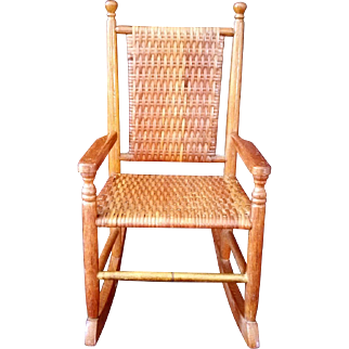 Adirondack Style Pecan Wood Wicker Woven High back rocking doll chair – Marked
