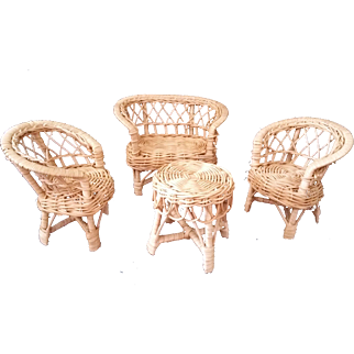 Natural Wicker Miniature Doll Furniture 4 pieces c 1960's