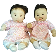 Dianne Dengel Fraternal Twin Baby Girls Soft Doll in Pink - signed