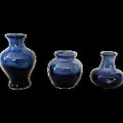 Vintage Blue Set of 3 miniature doll house ceramic vases marked