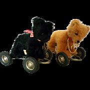 Vintage pair Hermann Teddy Original Pull Toy Bears - Black and Brown 100% Mohair West Germany