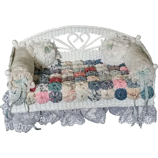 Miniature White Wicker Style Daybed with puff quilt Artist Made and Signed
