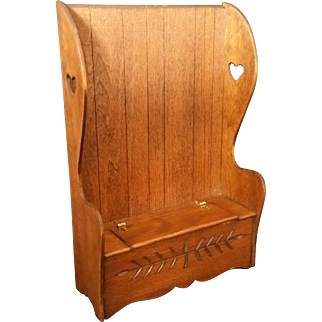 Vintage Artist made Colonial High back chest deacons bench with Heart Cut Outs - Signed