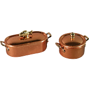 Vintage Miniature Copper and Brass Fish Pan and Pot Set 1983 - Red Tag Sale Item