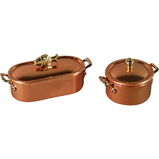 Vintage Miniature Copper and Brass Fish Pan and Pot Set 1983
