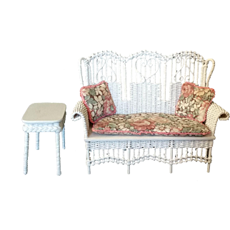 White Wicker High Back Miniature sofa with side table Artist Made McCurley
