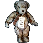 """LTD Merrythought Mohair 15"""" Bear White with brown tips jointed growler #602"""