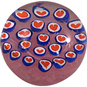 Vintage Millefiori Hearts on Pink Swirl Paperweight signed Gentile Glass Star City WV - 3 1/2""