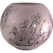Antique Glass Globe Double Etched Bacchanalia Festival Stand up Lamp Shade - late 1800's