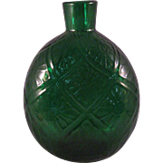 Vintage Pairpoint Emerald Green 34% Lead Crystal Round Diamond Quilted Glass Vase Flask
