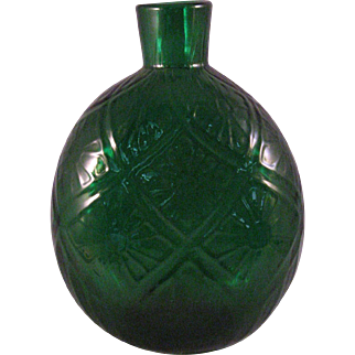 Vintage Emerald Green Blown raised pattern Flask or Vase - Mid 20th Century
