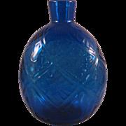 Pairpoint Blue 34% Lead Crystal Diamond Flower raised Round Vase Flask