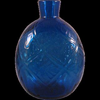 Vintage Cobalt Blue Blown raised pattern Flask or Vase - Mid 20th Century