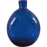 Vintage Cobalt Blue Swirl Art Glass Vase or Flask