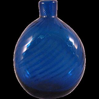 Vintage Cobalt Blue Swirl Art Glass Vase or Flask