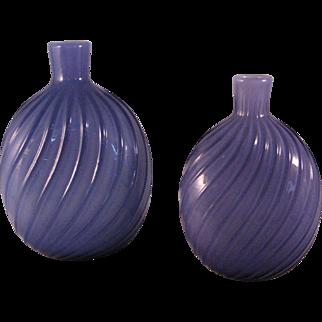 2 Vintage American Studio Art Glass Amethyst Swirl Vase or Flask - 1970's