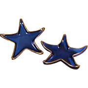 Vintage set of 2 Cobalt Blue w Gold Glass Starfish Candy Trinket Dishes