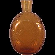 Vintage Pairpoint Amber 34% Lead Crystal Diamond Flower raised Round Vase Flask Marked Cape Cod, MA