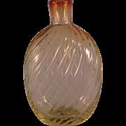 Vintage Golden Amber Swirl Pattern molded Round Flask Vase