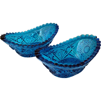 Faceted Sunburst Aqua Blue Pressed Glass Candy Dish set of 2 – EAPG