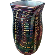 Studio Art Glass square purple black iridescent vase signed D. Tate