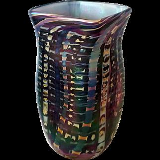 Studio Art Glass square purple black iridescent vase signed D. Tate
