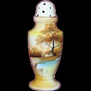 Noritake Muffineer Sugar Shaker Hand Painted Landscape Scene Gold trim