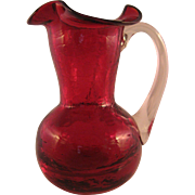 Vintage Ruby Red with Amberina Rim Pilgrim Art Glass Handcrafted Crackled with attached Crystal Handle