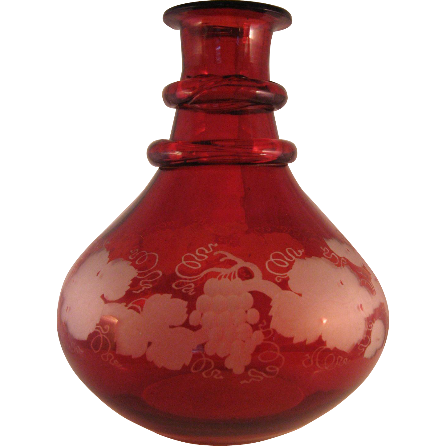 vintage ruby red bohemian art glass grapes and vine etched t