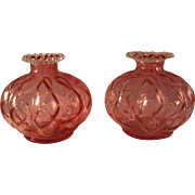 Rare Pair of 1942 Fenton Ruby Overlay Diamond Optic Squat Vases