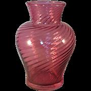 Vintage Pilgrim Glass Cranberry Swirl Vase - signed