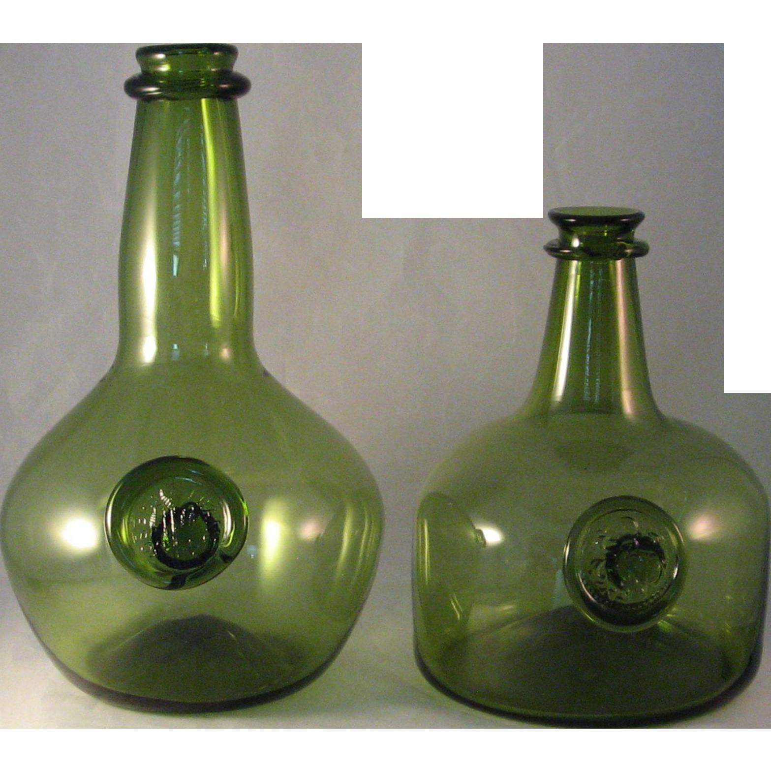 2 green historical reproduction joseph frances wine for Green wine bottles