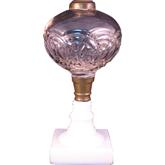 Whale Oil Lamp Raised Circle pattern with Milk Glass Base EAPG Mid 1800's