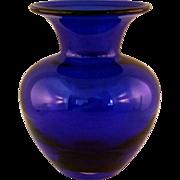 Small Cobalt Blue Blown Glass Vase - 1970's