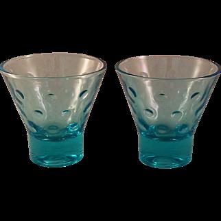 Aqua Azure Capri Dot Whiskey Glass set of 8 by Hazel-Atlas